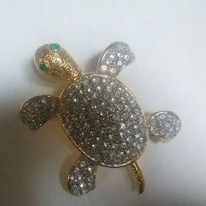 Joan rivers signed rhinestone turtle pin